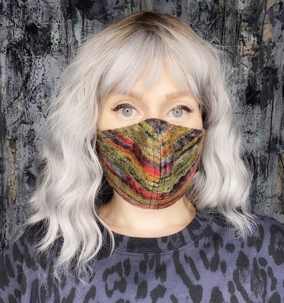 Multicolored Wool Stripe Boho Adjustable Mask w/nose wire