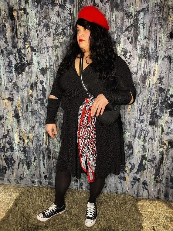 AntiLabel Black Burnout Leopard Print Wrap Dress 2X 18/20