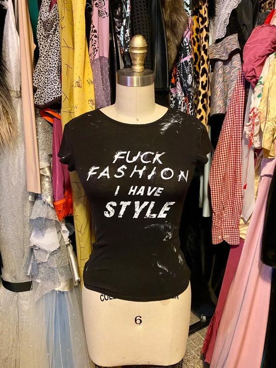 Black shirt sleeve F*CK Fashion t shirt Small