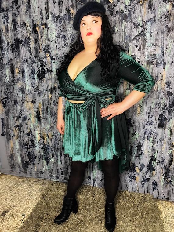 AntiLabel Emerald Velvet 2 piece Wrap Set XL 2X 18/20