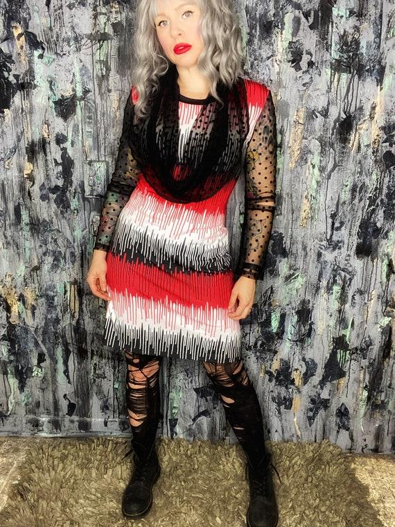 AntiLabel Dripping Paint Knit Cutout Dress Large 12/14