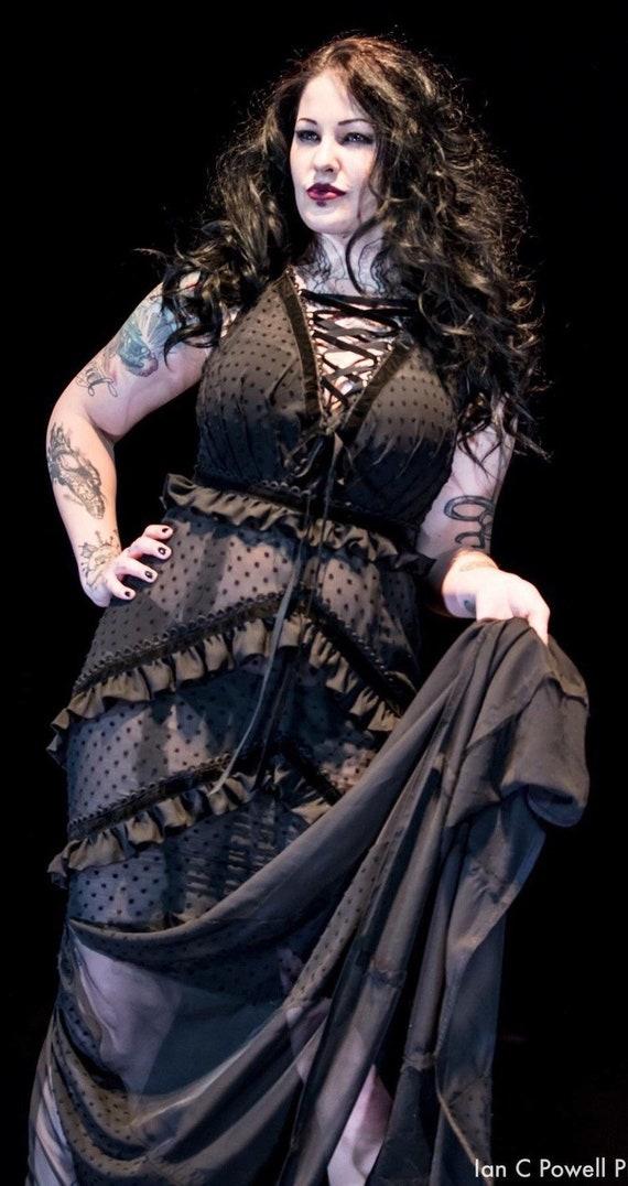 Anti.Label Black Flocked Swiss Dot Maxi Dress--Medium/Large
