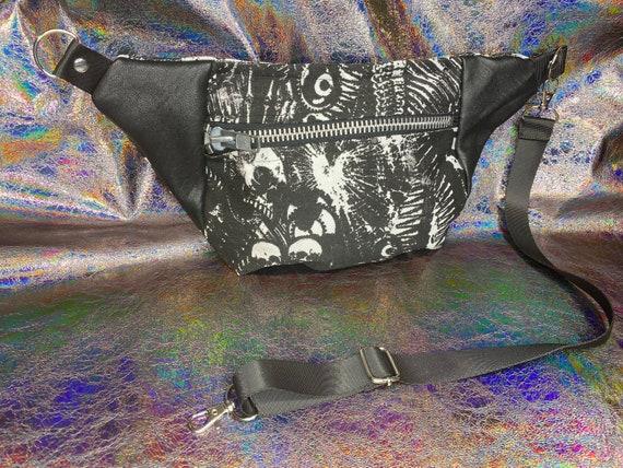 AntiLabel Black Punk Goth Skull Collage Denim Metal Zip Hip Sack