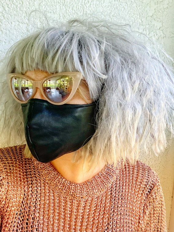 Black Vintage Leather Face Mask w/nose wire