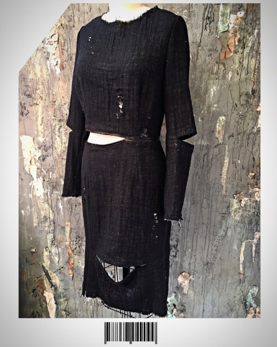Black Textured Cheesecloth Gauze CUT OUT distressed Apocalyptic Day Dress Gothic Punk 4 Small/Medium