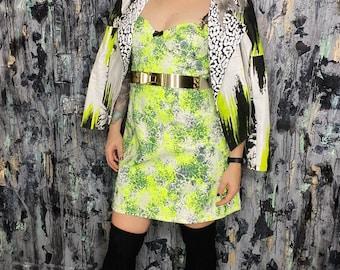 AntiLabel Neon Yellow Acid Lace Corset Bustier Dress Small/Medium 6/8
