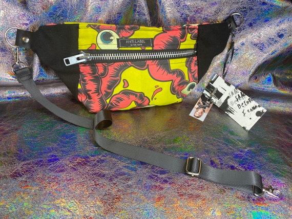 AntiLabel Neon Pink Eyeball Intestines 80s Denim Metal Zip Hip Sack