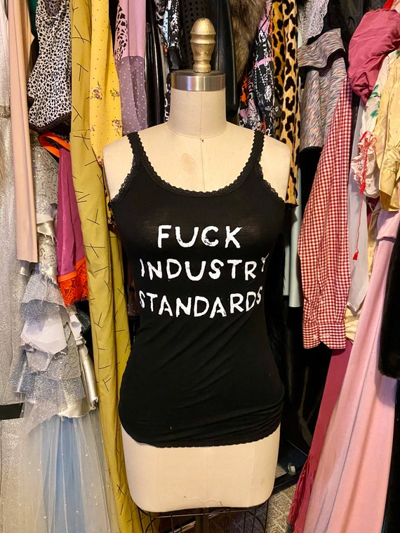 Lace trimmed black F*CK Industry Standards 70s tank top Small