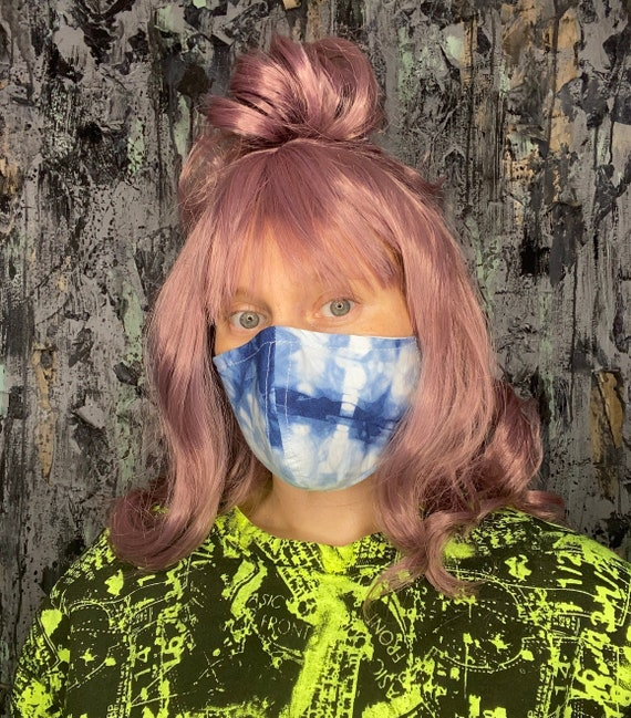 Indigo Blue Tie Dyed Cotton Face Mask w/nose wire