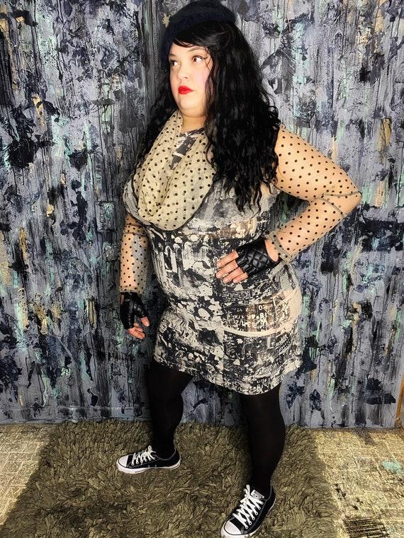 AntiLabel Sheer Mesh Abstract Cutout Dress XL 2X 18/20