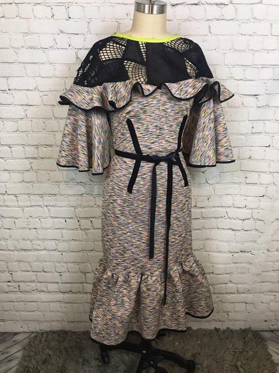 Anti.Label Neoprene Striped Ruffle Dress--Medium