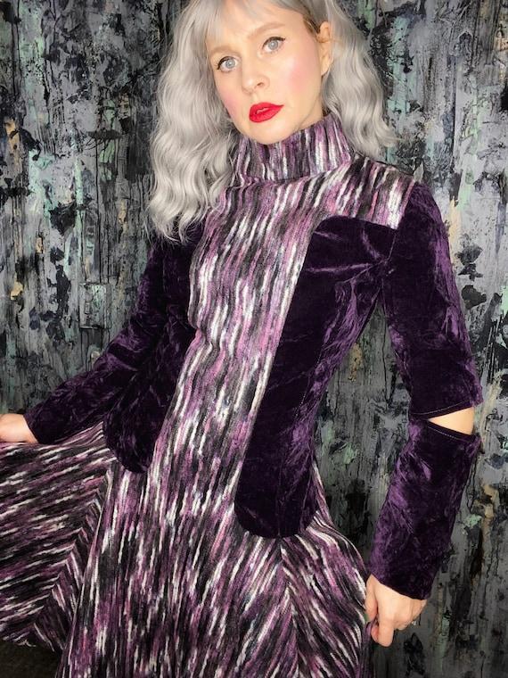 AntiLabel Futuristic Striped Wool Cut Out Dress