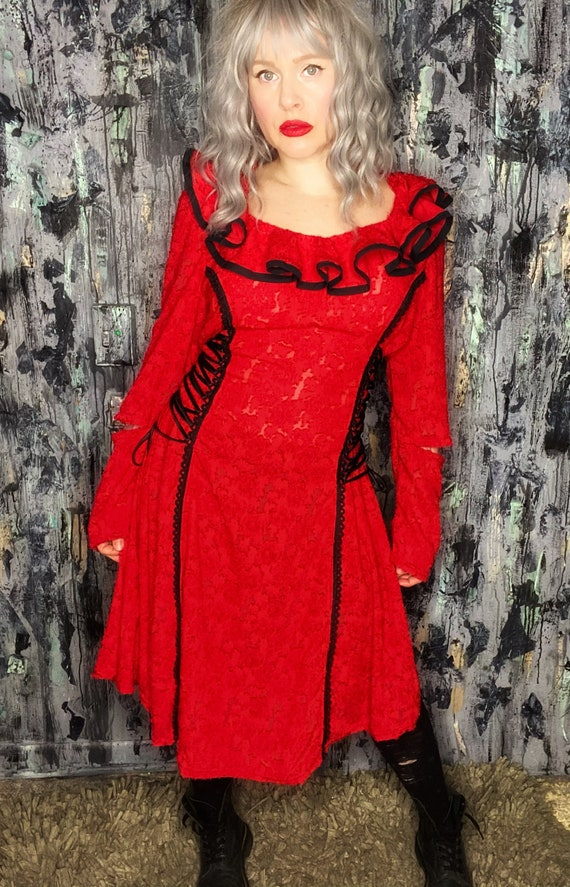 AntiLabel Red Burnout Ruffled Corset Dress Large 12/14