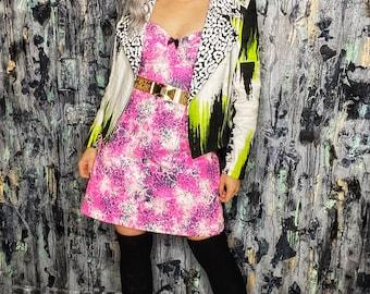 AntiLabel Neon Pink Acid Lace Corset Bustier Dress Medium/Large 8/10
