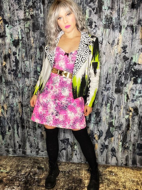 AntiLabel Neon Pink Acid Lace Corset Bustier Dress Small/Medium 6/8