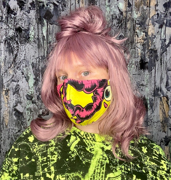 Neon Eyeball Print Adjustable Face Mask w/nose wire