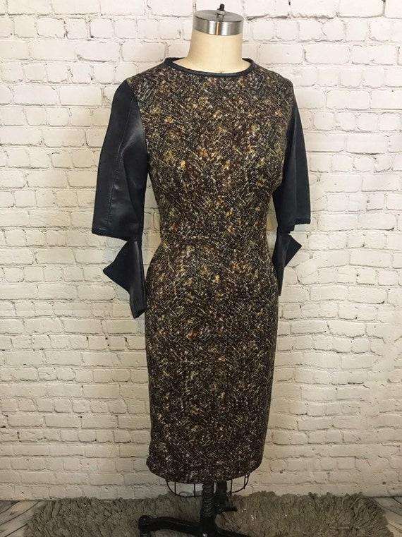 Anti.Label Brown Herringbone Leather Cutout Dress--Small