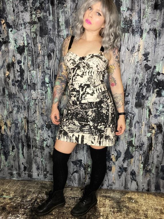 AntiLabel Serial Killer Oatmeal Dingy Denim Corset Bustier Dress XS/Small 2/4