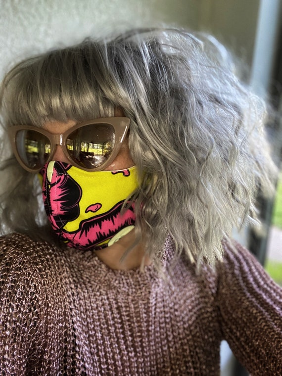Chartreuse & pink Guts print FACE MASK w/wire nose