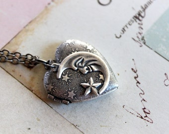 in silver ox jewelry heart locket necklace moon and stars