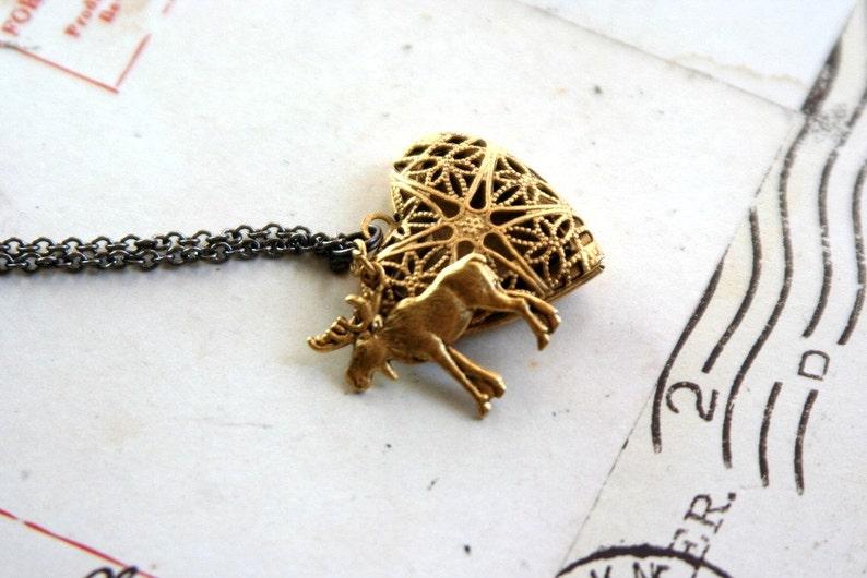 moose locket necklace gold ox color