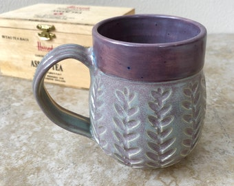 Purple and Grey Vines, Wheel Thrown Pottery, Handmade Pottery and Ceramics