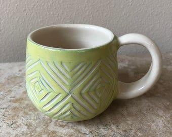 Chartreuse Diamonds, Wheel Thrown Pottery, Handmade Pottery and Ceramics