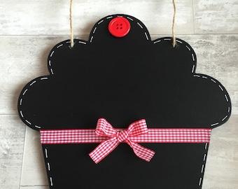 HANDMADE CHALKBOARD - Cupcake, Ice cream, Shabby Chic or Primitive Heart Shape - Hot pink or Black