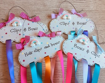 Personalised Rainbow Cloud Magical Sparkling Name Sign Plaque - Hair Bow & Clip Holder - Jewellery Organiser