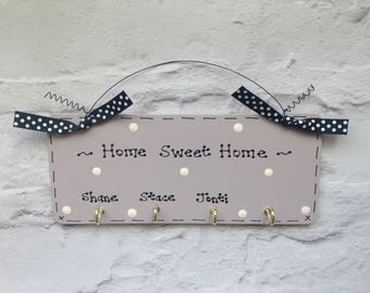 Personalised Handmade to order - Jewellery Keys Holder Sign Plaque with 3-5 Hooks - Lots colours