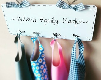 Personalised Face Mask Wall Hanging Holder Organiser with Hooks - any colours to match your home decor