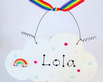 Rainbow Cloud Personalised Bedroom Sign Plaque ~ Magical Sparkly ~ Made in the UK