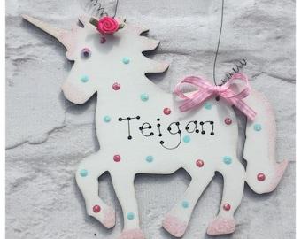 Personalised Sparkly UNICORN Sign Plaque ~ Girls Bedroom Door ~ Birthday Present