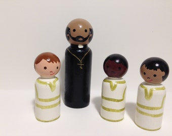 Multicultural Orthodox Priest and Acolytes Peg People