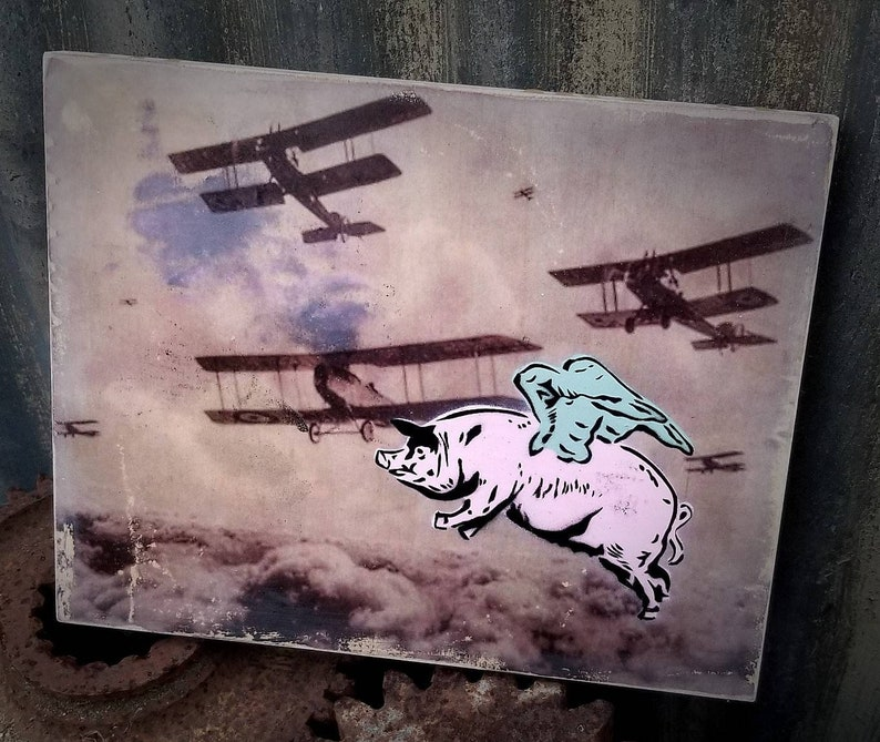 When Pigs Fly Mixed Media Graffiti Art Painting on Photo image 0