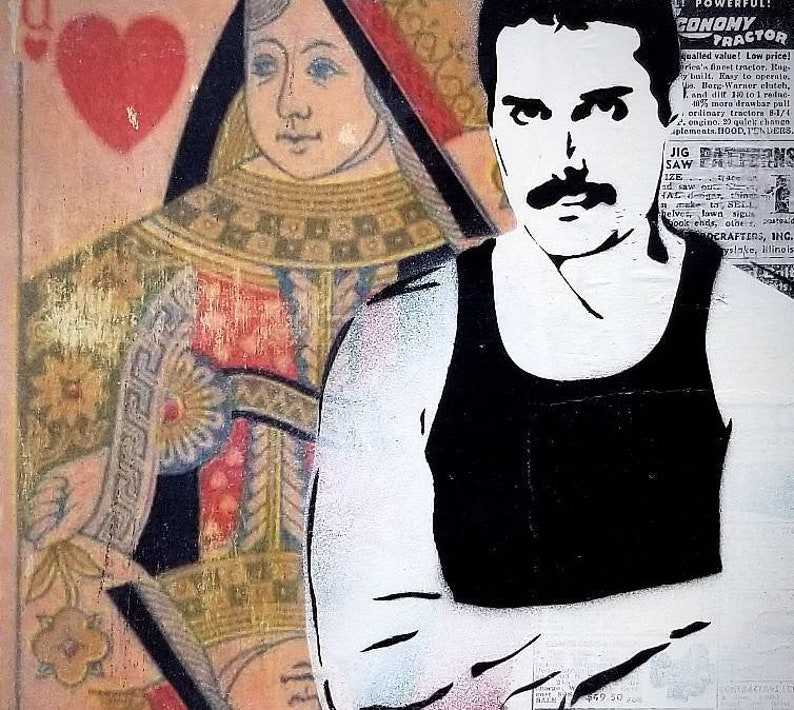 Freddie Mercury Queen Mixed Media Graffiti Art Painting on image 0