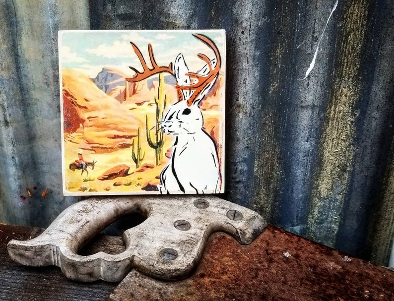 Jackalope Paint By Numbers Mixed Media Graffiti Art Painting image 0