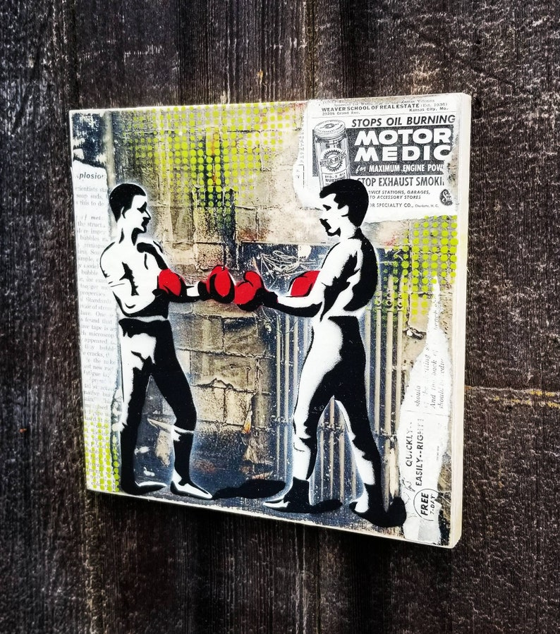 Boxers Mixed Media Graffiti Art Painting on Original Art on image 0
