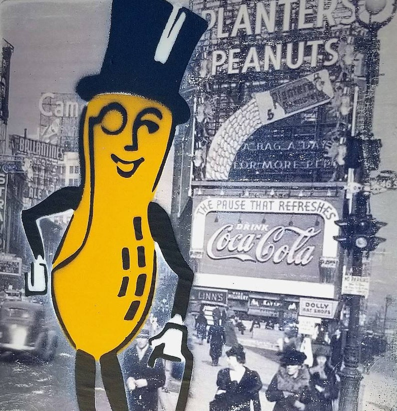 Mr Peanut Mixed Media Graffiti Art Painting on Original Art on image 0