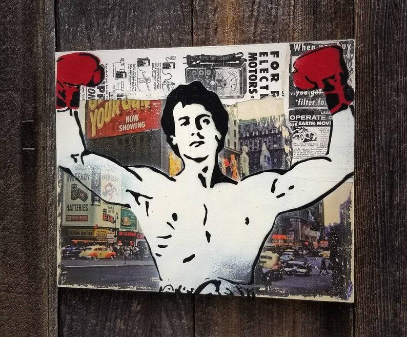 Rocky Mixed Media Graffiti Art Painting on Photo Transfer image 0
