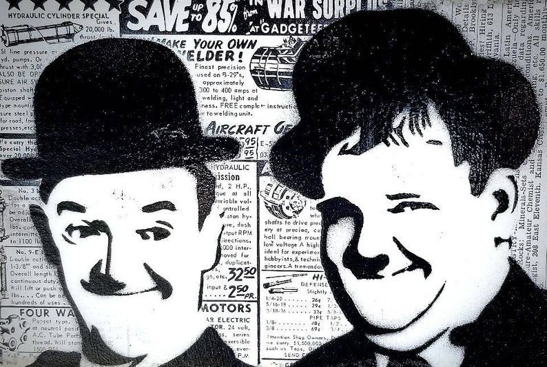 Laurel and Hardy Mixed Media Graffiti Art Painting on Original image 0