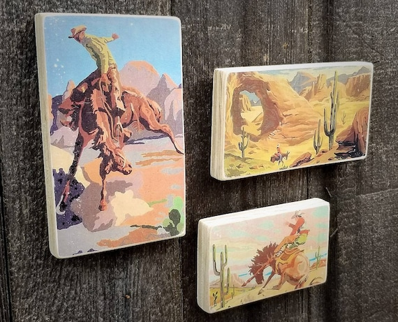 Cowboys Vintage Paint By Number Wild West Paintings Set of 3 Handmade Image  Transfer Art Block Home Decor Art Original Art Western Art