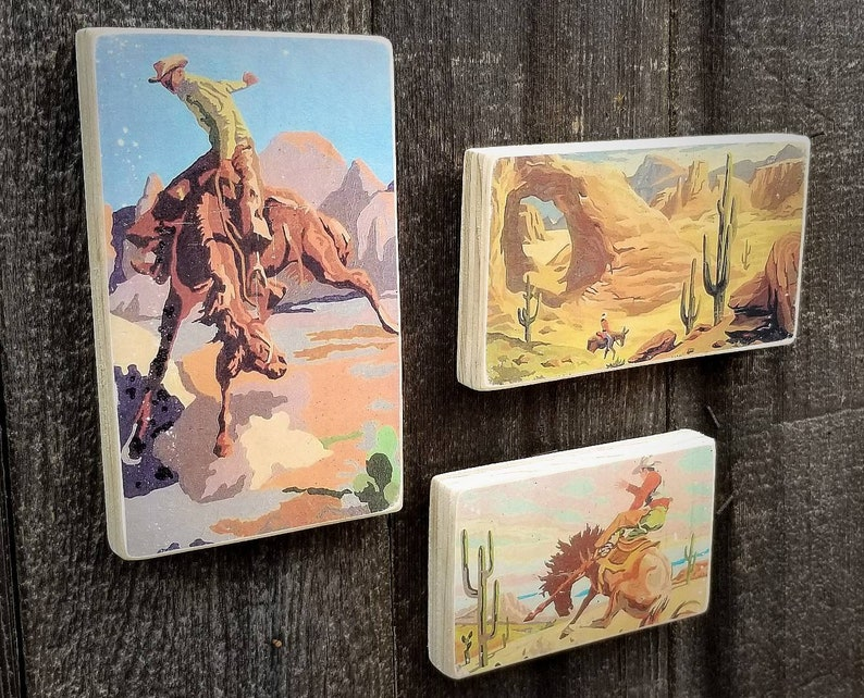 Cowboys Vintage Paint By Number Wild West Paintings Set of 3 image 0
