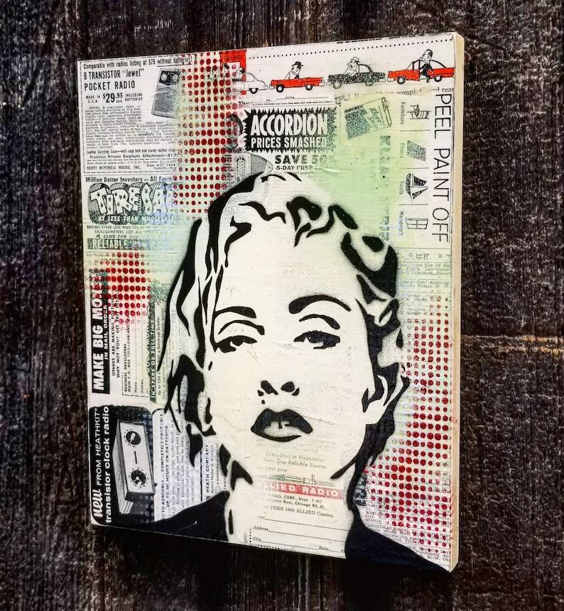 Madonna Mixed Media Graffiti Art Painting on Photo Transfer image 0