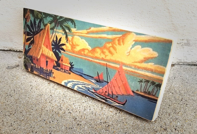 Tiki Village Vintage Paint By Number Painting Handmade Image image 0