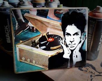 Prince Mixed Media Graffiti Art Painting on Photo Transfer Original Art on Handmade Canvas Home Decor Pop Art Gallery Purple Rain
