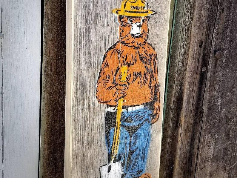 Smokey the Bear Mixed Media Graffiti Art Painting on Barn Wood image 0