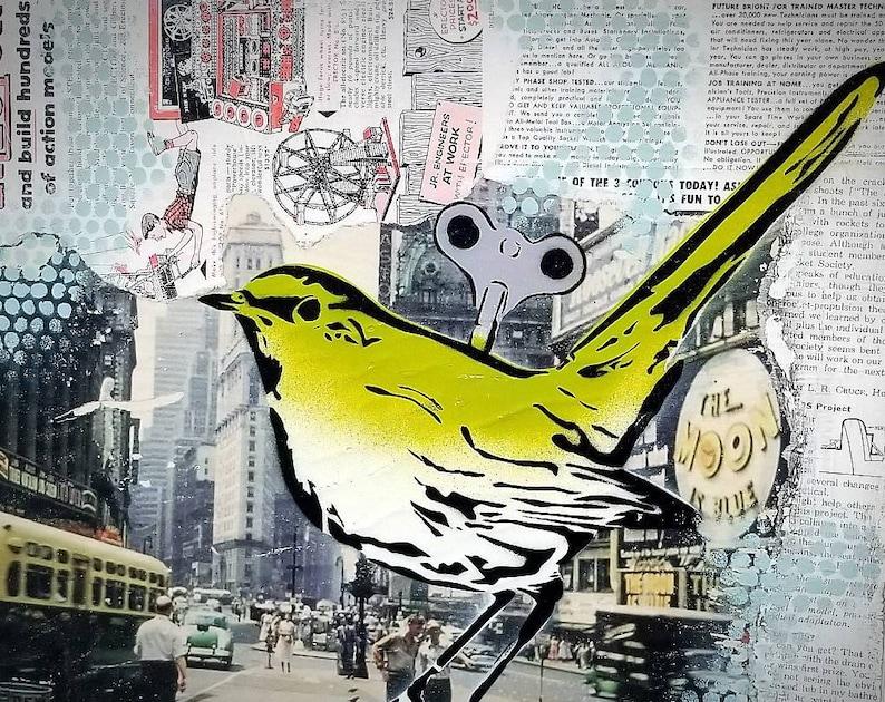 Wind up Birdie Vintage Mixed Media Graffiti Art Painting on image 0