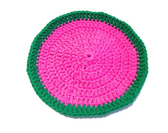 Hot Pink And Emerald Green Seedless Watermelon Crocheted Round Dish Cloth