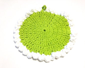 Hot Green And White Crocheted Round Dish Cloth
